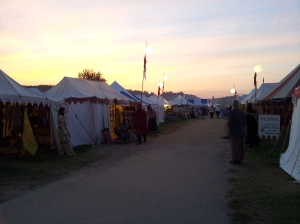 Sunset on Battle Road while the Camelot Guild plays drum head frisbee.